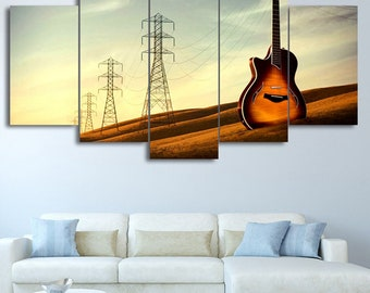 Landscape Guitar Canvas Set Music Print Guitar Wall Art, Guitar Home Decor  Gifts For Her Gift For Him Guitar Wall Decor Guitar Lover Gift