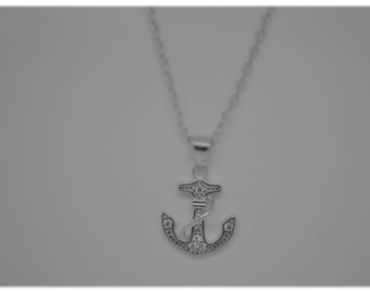 925 Sterling Silver anchor Pendant Necklace