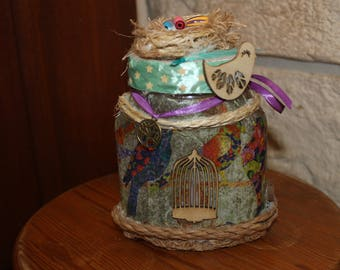 jar glass decorated with rope, wood colorful bird pattern