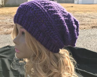 Lazy Dayz Slouch, purple slouch, slouchy, textured hat, Gypsy wear