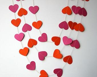Hot pink & orange heart garland, Pink orange heart garland, Birthday decoration, Bridal shower decor, Paper garland, Wedding decor, KCO-3035