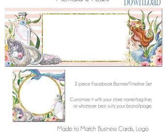 Mermaid DIY Facebook Set, 2 Piece DIY Facebook Profile an Banner, Instant Download Facebook, Mermaid, Pearls, Pearl Facbook Set, Facebook
