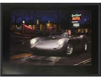 No Tell Motel by Helen Flint 24x36 Print. Framed in Black Frame