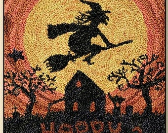 Punch Needle - Happy Halloween - Choose Pattern Only or Pattern with Floss Kit