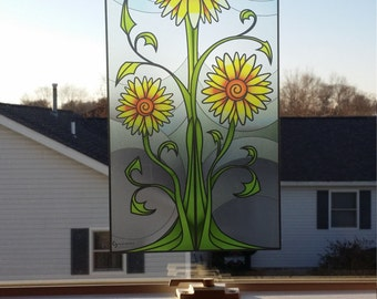 """Sunflower """"Stained Glass"""" Style WINDOW CLING"""