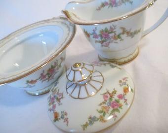 Vintage Noritake China Sugar Bowl and Creamer Set, Tea Party, Wedding, Bridal Gift