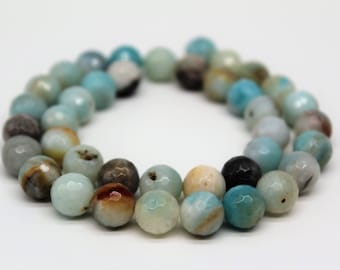 Faceted Multi Color Amazonite Round Loose beads 6/8/10mm