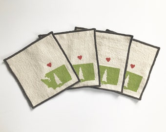Love from WA Handmade Block Printed Cocktail Napkins, Free domestic shipping, Bar Accessory, State Pride, Home Sweet Home, Cloth Napkins