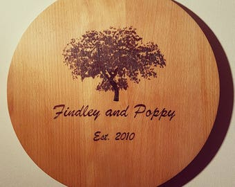 Custom Personalised Engraved Wooden Wood Cutting Block Chopping Board Wedding Couple Gift Pyrography Tree Home Improvement Kitchen Decor