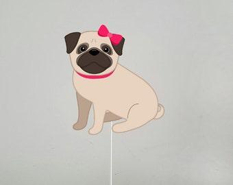 Pug Puppy Cake Topper, Dog Cake Topper, Puppy Centerpiece, Dog Centerpiece