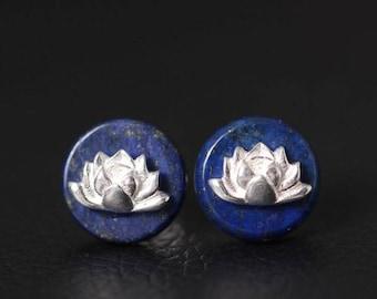 Natural Blue Lapis Lazuli Lotus Flower Stud Earrings Sterling Silver round