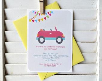 Race car birthday party invitation, car themed birthday party, car themed party, boys birthday party invitation, set of 15