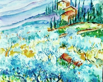 """Watecolor """"Olive Groves of Cozille  Tuscany """" Original painting -Italian Landscape,plein air, cypress trees"""
