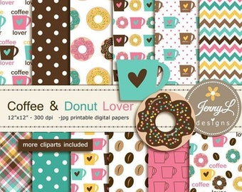 50% OFF Coffee Donut Digital papers Clipart, Coffee Mugs, Doughnuts  for Birthday, Scrapbooking Paper Party Theme, Planner