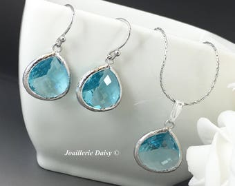 Bridesmaid Gift Turquoise Bridesmaid Jewelry Silver Necklace Set Blue Earrings Maid of Honor Mother of Groom Gift Mother of Bride Jewelry