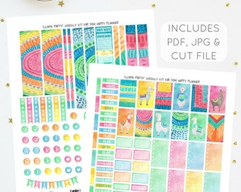 Llama Party - Weekly Kit for Mini Happy Planner   Printable Planner Stickers   Incl. PDF, JPG, Silhouette Cut File   Instant Download