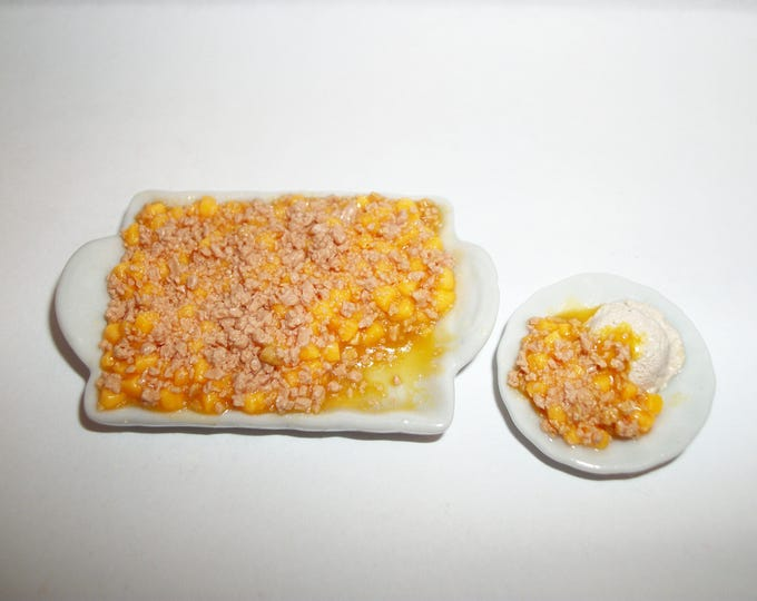 Featured listing image: 1:6 Play Scale Dollhouse Miniature Handcrafted Peach Cobbler with Slice Dessert Doll Food