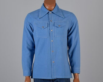 Mens Vintage 70s Baby Blue Soft Twill Western Style Cowboy Shirt Long Sleeves Wing Collar Snap Front