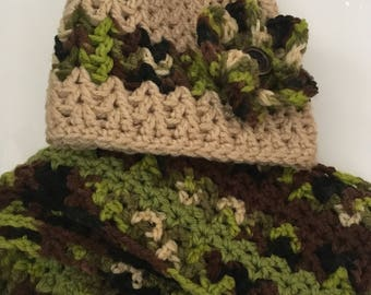 Taupe Flower Power Hat and Scarf Set