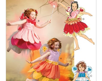 UNCUT Kid's, Girl's Fairy Costume Sewing Pattern McCall's 6813 Size: 6-7-8 Halloween, Princess, Tinkerbell, Wings