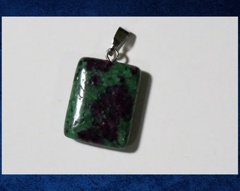 Chrysocolla - Small 15x20mm flat rectangle pendant with natural gemstone. #GPEN-427