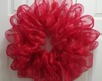 Red Deco Mesh Wreath, Memorial Day Wreath, Patriotic Wreath, Ready to Decorate, or leave as is