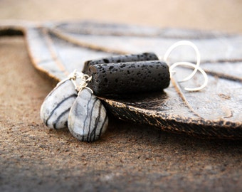 ashen... silver lava marble earrings / sterling silver, picasso marble, & black cylinder lava