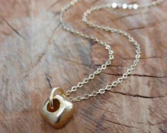 Minimal Gold Casted Cube Charm Necklace