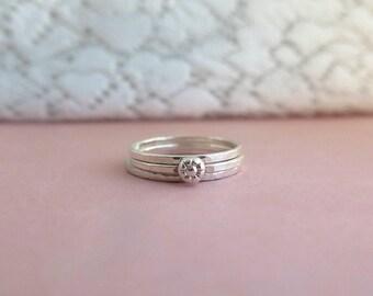 Stacking ring set sterling silver, Boho ring set, Gift for her, Womens gift, Girlfriend gift, Flower ring, Silver ring set, minimalist ring