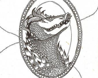 Crocodile Monster Cameo mini original drawing