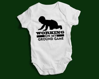 """Funny Baby Bodysuit """"Working On My Ground Game"""" Cute Baby Kids Sports Collection"""