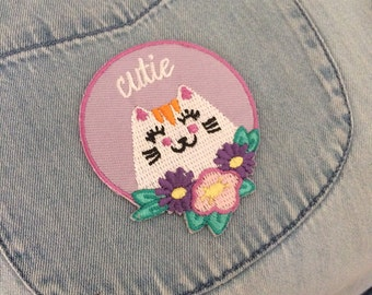 Cutie Cat Iron on Patch - iron on patch - cute cat - cat accessories - Cat lover gift - iron on transfer
