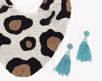 Mercer Beaded Scarf Necklace in Leopard Print - Ivory / Taupe / Black
