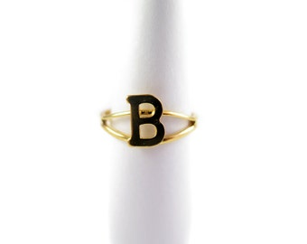 Vintage Gold Plated Adjustable Initial Letter B Ring (2X) (J517-B)