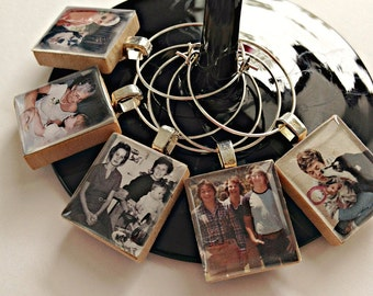 Set of 5+ Family Photo Wine Charms, Custom Wine Charms, Photo Charms, Gift for Mom, Personalized Wine Charms, Party Favors, Wedding Gift