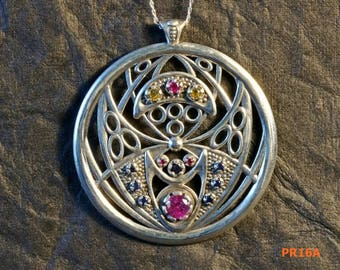silver pendant silver necklace round silver pendant large silver pendant large silver necklace ruby pendant sapphire pendant citrine  PR16