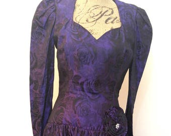 Vintage 1980's Ann Hobbs for Kastina Purple Floral Dress