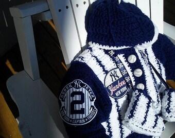 NY Yankees Derek Jeter Baby outfit Stadium Jacket Baseball Hat Pinstripe pants Sneaker Booties