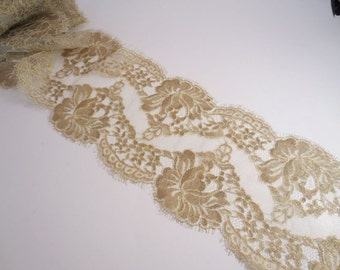 Metallic Gold and Ivory Rose Pattern French Chantilly Lace Trim--By the Yard