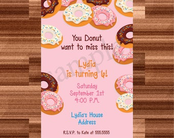 Personalized Donut Party Invitations - Donut Themed Party Invitation - Donut Party Supplies - Donut Birthday