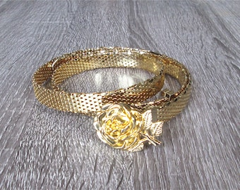 Vintage skinny metal belt GOLD ROSE fancy - S/M/L