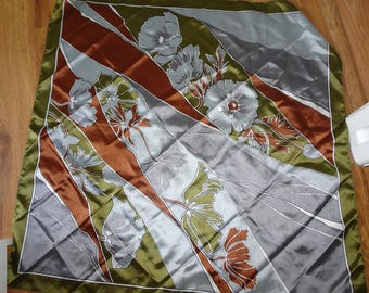 Vintage  Large Head Square /Scarf in Vibrant colours in Copper Silver Sage Green and Grey flower design Made in ITaly
