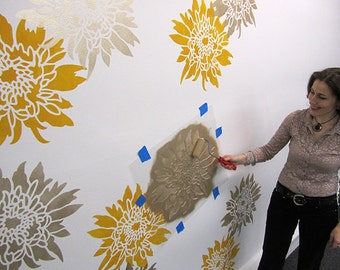 Chrysanthemum Grande Flower Wall Art Stencil - Medium - Wall Stencils for Easy Decor. Better than decals!