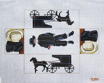Needlepoint Brick Covers, Amish Needlepoint, Handpainted Needlepoint, Stitchpainted Needlepoint Brick Covers, Needlepoint Canvases, Amish
