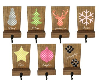 personalized stocking holder, Christmas mantle, wood, polka dot, rustic Christmas, pet stocking holder, mantle decor, stocking hanger, hook