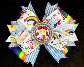 Somewhere Over The Rainbow Dorothy Toto Wizard of Oz Hair Bow Headband Plaid Drams Tin Man Cowardly Lion Scarecrow Witch