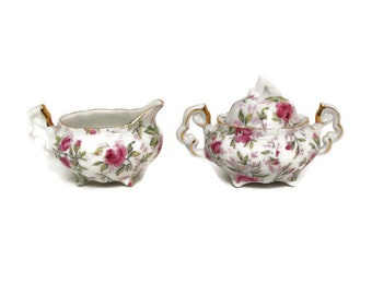 Vintage Pink Rose Sugar and Creamer Lefton China 794R Demitasse Set Tea Party Hand Painted Gold Accents Made in Japan
