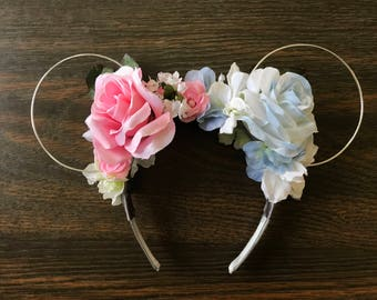 Pink and Blue floral headband with wire ears