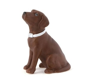 Chocolate Lab Cake Topper - Brown Labrador Dog on Wedding Cake - Small Porcelain Figurine - MW16491