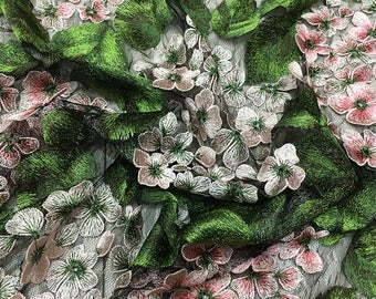 green leaves and pink flowers high quality embroidered lace fabric, multi color daisy black netting vintage bridal lace fabric by yard